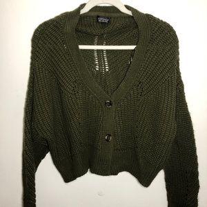 Top Shop Slouchy Knit Cardigan Army Green